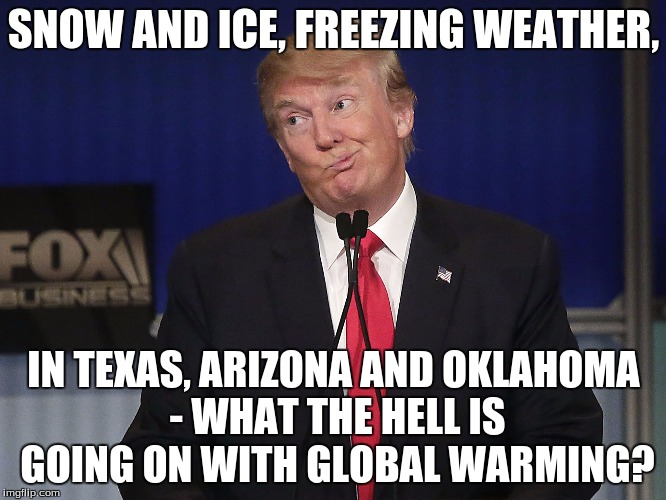 stupid donald trump pressumptive American President Hi-Rez | SNOW AND ICE, FREEZING WEATHER, IN TEXAS, ARIZONA AND OKLAHOMA - WHAT THE HELL IS GOING ON WITH GLOBAL WARMING? | image tagged in stupid donald trump pressumptive american president hi-rez | made w/ Imgflip meme maker