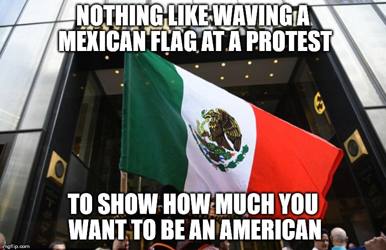 NOTHING LIKE WAVING A MEXICAN FLAG AT A PROTEST TO SHOW HOW MUCH YOU WANT TO BE AN AMERICAN | made w/ Imgflip meme maker