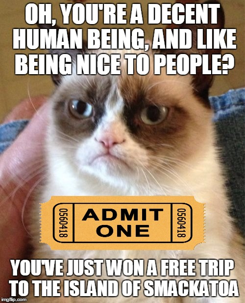 Grumpy Cat Meme | OH, YOU'RE A DECENT HUMAN BEING, AND LIKE BEING NICE TO PEOPLE? YOU'VE JUST WON A FREE TRIP TO THE ISLAND OF SMACKATOA | image tagged in memes,grumpy cat | made w/ Imgflip meme maker