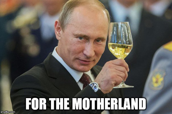 Putin Cheers | FOR THE MOTHERLAND | image tagged in putin cheers | made w/ Imgflip meme maker
