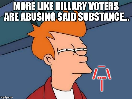 Futurama Fry Meme | MORE LIKE HILLARY VOTERS ARE ABUSING SAID SUBSTANCE... _ /.... | | image tagged in memes,futurama fry | made w/ Imgflip meme maker