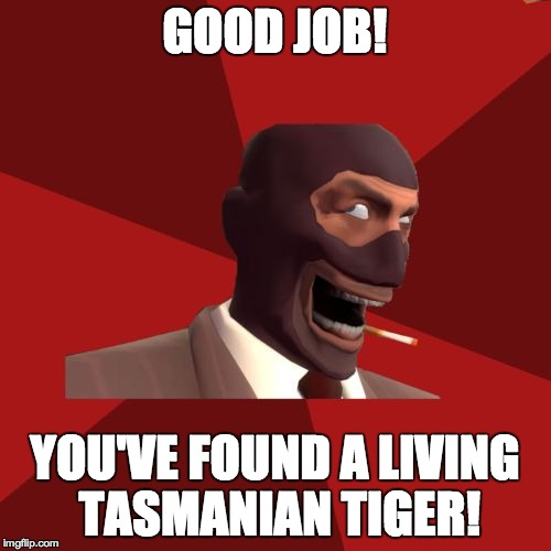 GOOD JOB! YOU'VE FOUND A LIVING TASMANIAN TIGER! | made w/ Imgflip meme maker
