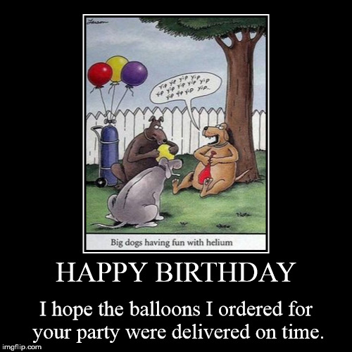 HAPPY BIRTHDAY  (Big dogs having fun with helium.) | HAPPY BIRTHDAY | I hope the balloons I ordered for your party were delivered on time. | image tagged in funny,demotivationals,happy birthday,balloons,dogs,gary larson | made w/ Imgflip demotivational maker