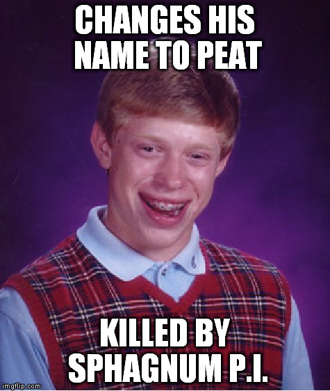 Bad Luck Brian Meme | CHANGES HIS NAME TO PEAT KILLED BY SPHAGNUM P.I. | image tagged in memes,bad luck brian | made w/ Imgflip meme maker