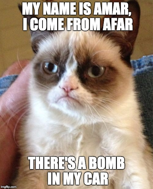 Isis cat | MY NAME IS AMAR, I COME FROM AFAR THERE'S A BOMB IN MY CAR | image tagged in memes,grumpy cat,calm down,holy crap,cat terrorist | made w/ Imgflip meme maker