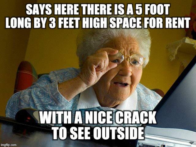Grandma Finds The Internet Meme | SAYS HERE THERE IS A 5 FOOT LONG BY 3 FEET HIGH SPACE FOR RENT WITH A NICE CRACK TO SEE OUTSIDE | image tagged in memes,grandma finds the internet | made w/ Imgflip meme maker