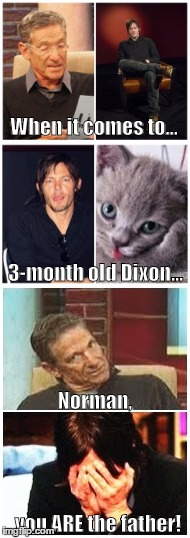 Baby Daddy Drama | When it comes to... 3-month old Dixon... Norman, you ARE the father! | image tagged in reedus dna results,norman is my daddy | made w/ Imgflip meme maker
