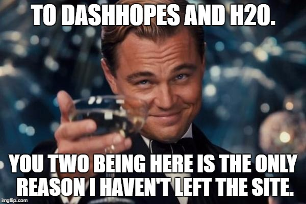You guys are awesome. Keep up the good work. :) | TO DASHHOPES AND H20. YOU TWO BEING HERE IS THE ONLY REASON I HAVEN'T LEFT THE SITE. | image tagged in memes,leonardo dicaprio cheers | made w/ Imgflip meme maker