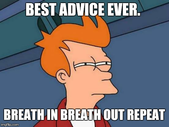 Futurama Fry Meme | BEST ADVICE EVER. BREATH IN BREATH OUT REPEAT | image tagged in memes,futurama fry | made w/ Imgflip meme maker