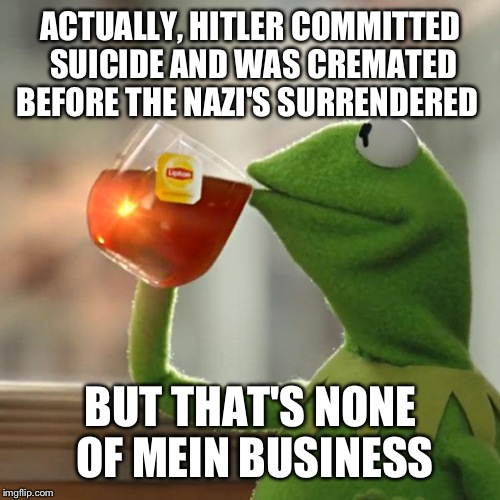 But Thats None Of My Business Meme | ACTUALLY, HITLER COMMITTED SUICIDE AND WAS CREMATED BEFORE THE NAZI'S SURRENDERED BUT THAT'S NONE OF MEIN BUSINESS | image tagged in memes,but thats none of my business,kermit the frog | made w/ Imgflip meme maker