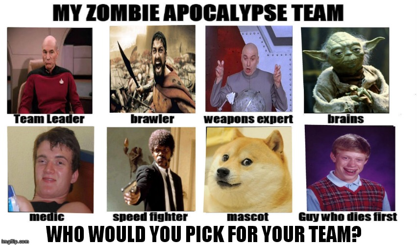 Thanks to Mihaita70 for making this template! | WHO WOULD YOU PICK FOR YOUR TEAM? | image tagged in my zombie apocalypse team | made w/ Imgflip meme maker