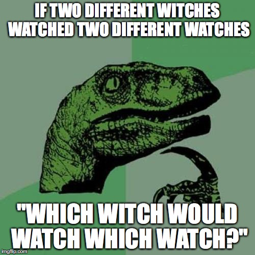 "Philosoraptor Meme | IF TWO DIFFERENT WITCHES WATCHED TWO DIFFERENT WATCHES ""WHICH WITCH WOULD WATCH WHICH WATCH?"" 