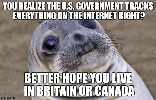 Awkward Moment Sealion Meme | YOU REALIZE THE U.S. GOVERNMENT TRACKS EVERYTHING ON THE INTERNET RIGHT? BETTER HOPE YOU LIVE IN BRITAIN OR CANADA | image tagged in memes,awkward moment sealion | made w/ Imgflip meme maker