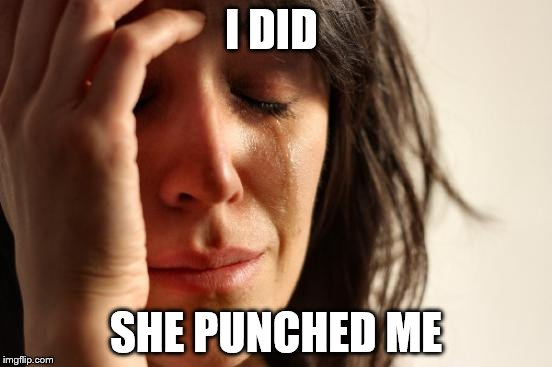 First World Problems Meme | I DID SHE PUNCHED ME | image tagged in memes,first world problems | made w/ Imgflip meme maker