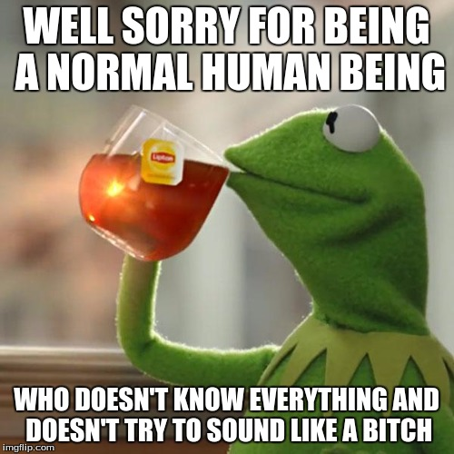 But Thats None Of My Business Meme | WELL SORRY FOR BEING A NORMAL HUMAN BEING WHO DOESN'T KNOW EVERYTHING AND DOESN'T TRY TO SOUND LIKE A B**CH | image tagged in memes,but thats none of my business,kermit the frog | made w/ Imgflip meme maker