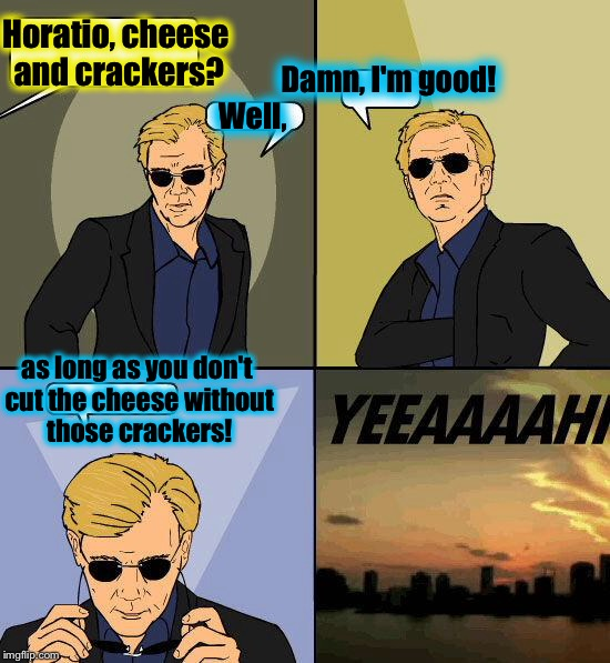 Horatio, Incredibly Dumb Puns For You........ | Horatio, cheese and crackers? as long as you don't cut the cheese without those crackers! Well, Damn, I'm good! | image tagged in csi 4,memes,csi horatio yeeeaaaaaaa,funny,evilmandoevil,dumb pun | made w/ Imgflip meme maker
