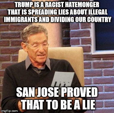 San Jose Proves Trump Right |  TRUMP IS A RACIST HATEMONGER THAT IS SPREADING LIES ABOUT ILLEGAL IMMIGRANTS AND DIVIDING OUR COUNTRY; SAN JOSE PROVED THAT TO BE A LIE | image tagged in memes,maury lie detector,trump 2016,illegal immigration,liberals,liberal vs conservative | made w/ Imgflip meme maker