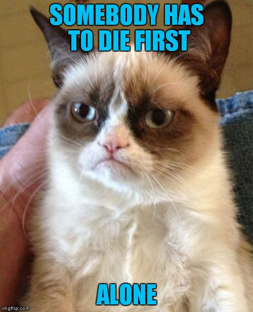Grumpy Cat Meme | SOMEBODY HAS TO DIE FIRST ALONE | image tagged in memes,grumpy cat | made w/ Imgflip meme maker