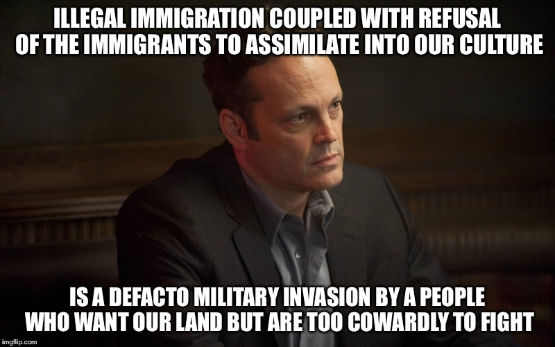 Vince Vaughn | ILLEGAL IMMIGRATION COUPLED WITH REFUSAL OF THE IMMIGRANTS TO ASSIMILATE INTO OUR CULTURE IS A DEFACTO MILITARY INVASION BY A PEOPLE WHO WAN | image tagged in vince vaughn | made w/ Imgflip meme maker