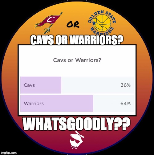 Cavs or Warriors? Whatsgoodly? |  CAVS OR WARRIORS? WHATSGOODLY?? | image tagged in cleveland cavaliers,golden state warriors,nba,nba finals,rivalry,battle | made w/ Imgflip meme maker