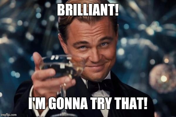 Leonardo Dicaprio Cheers Meme | BRILLIANT! I'M GONNA TRY THAT! | image tagged in memes,leonardo dicaprio cheers | made w/ Imgflip meme maker