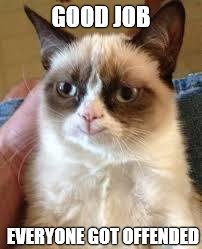 Grumpy Cat Happy Meme | GOOD JOB EVERYONE GOT OFFENDED | image tagged in grumpy cat smile | made w/ Imgflip meme maker