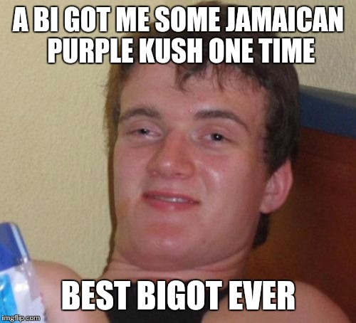 10 Guy Meme | A BI GOT ME SOME JAMAICAN PURPLE KUSH ONE TIME BEST BIGOT EVER | image tagged in memes,10 guy | made w/ Imgflip meme maker