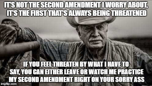 So God Made A Farmer | IT'S NOT THE SECOND AMENDMENT I WORRY ABOUT, IT'S THE FIRST THAT'S ALWAYS BEING THREATENED IF YOU FEEL THREATEN BY WHAT I HAVE TO SAY, YOU C | image tagged in memes,so god made a farmer | made w/ Imgflip meme maker