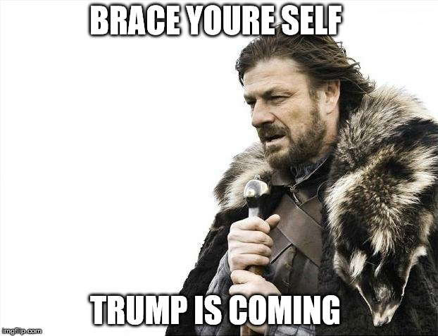Brace Yourselves X is Coming Meme | BRACE YOURE SELF TRUMP IS COMING | image tagged in memes,brace yourselves x is coming | made w/ Imgflip meme maker