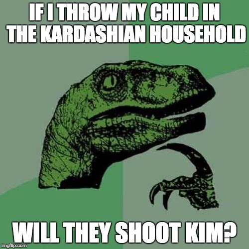 DIE KIM! |  IF I THROW MY CHILD IN THE KARDASHIAN HOUSEHOLD; WILL THEY SHOOT KIM? | image tagged in memes,philosoraptor,gorilla | made w/ Imgflip meme maker