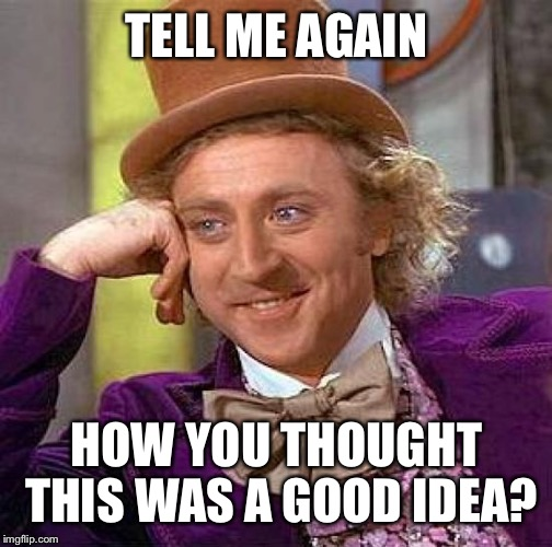 Creepy Condescending Wonka Meme | TELL ME AGAIN HOW YOU THOUGHT THIS WAS A GOOD IDEA? | image tagged in memes,creepy condescending wonka | made w/ Imgflip meme maker