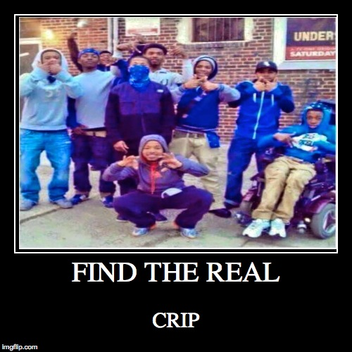 FIND THE REAL | CRIP | image tagged in funny,demotivationals,crip,gang,thugs | made w/ Imgflip demotivational maker