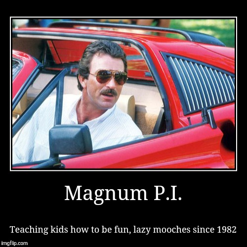My hero | Magnum P.I. | Teaching kids how to be fun, lazy mooches since 1982 | image tagged in funny,demotivationals,tom selleck,meme,ferrari | made w/ Imgflip demotivational maker