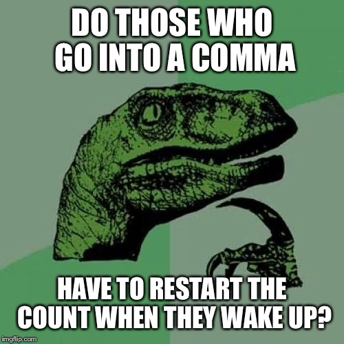 Philosoraptor Meme | DO THOSE WHO GO INTO A COMMA HAVE TO RESTART THE COUNT WHEN THEY WAKE UP? | image tagged in memes,philosoraptor | made w/ Imgflip meme maker