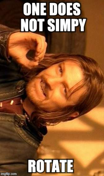 One Does Not Simply Meme | ONE DOES NOT SIMPY ROTATE | image tagged in memes,one does not simply | made w/ Imgflip meme maker