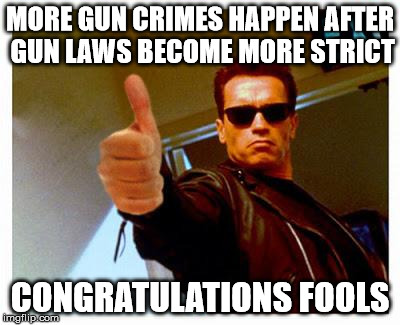 terminator thumbs up | MORE GUN CRIMES HAPPEN AFTER GUN LAWS BECOME MORE STRICT CONGRATULATIONS FOOLS | image tagged in terminator thumbs up | made w/ Imgflip meme maker
