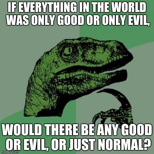 The meaning of morality? | IF EVERYTHING IN THE WORLD WAS ONLY GOOD OR ONLY EVIL, WOULD THERE BE ANY GOOD OR EVIL, OR JUST NORMAL? | image tagged in memes,philosoraptor,important,good,or,evil | made w/ Imgflip meme maker