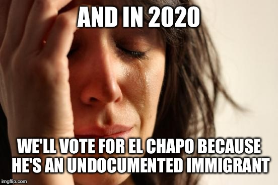 First World Problems Meme | AND IN 2020 WE'LL VOTE FOR EL CHAPO BECAUSE HE'S AN UNDOCUMENTED IMMIGRANT | image tagged in memes,first world problems | made w/ Imgflip meme maker