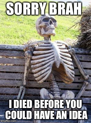 Waiting Skeleton Meme | SORRY BRAH I DIED BEFORE YOU COULD HAVE AN IDEA | image tagged in memes,waiting skeleton | made w/ Imgflip meme maker