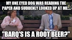 "He thought it was arf-ul!  | MY ONE EYED DOG WAS READING THE PAPER AND SUDDENLY LOOKED UP AT ME.... ""BARQ'S IS A ROOT BEER?"" 