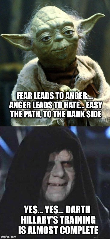 Hmmm | FEAR LEADS TO ANGER.... ANGER LEADS TO HATE... EASY THE PATH, TO THE DARK SIDE YES... YES... DARTH HILLARY'S TRAINING IS ALMOST COMPLETE | image tagged in memes | made w/ Imgflip meme maker