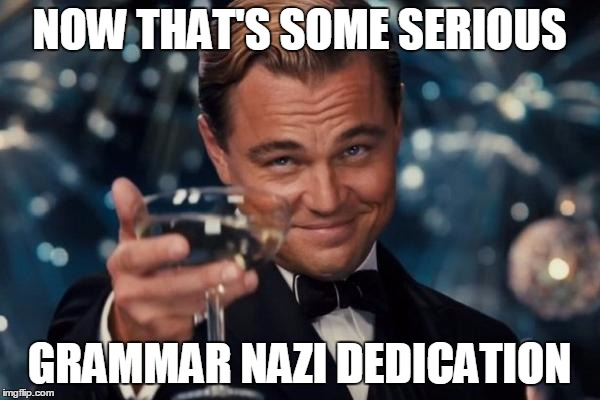 Leonardo Dicaprio Cheers Meme | NOW THAT'S SOME SERIOUS GRAMMAR NAZI DEDICATION | image tagged in memes,leonardo dicaprio cheers | made w/ Imgflip meme maker