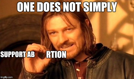 One Does Not Simply Meme | ONE DOES NOT SIMPLY SUPPORT AB RTION | image tagged in memes,one does not simply | made w/ Imgflip meme maker