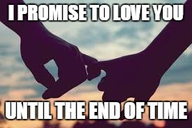 Eternal Love | I PROMISE TO LOVE YOU UNTIL THE END OF TIME | image tagged in love,holding hands,i promise,end of time | made w/ Imgflip meme maker