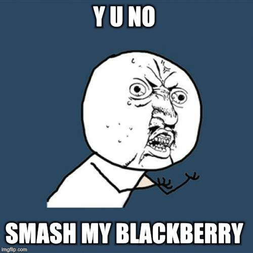 Y U No Meme | Y U NO SMASH MY BLACKBERRY | image tagged in memes,y u no | made w/ Imgflip meme maker
