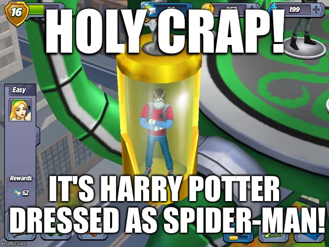 HOLY CRAP! IT'S HARRY POTTER DRESSED AS SPIDER-MAN! | image tagged in peter potter | made w/ Imgflip meme maker