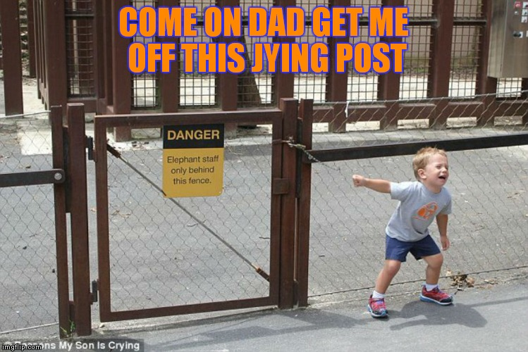 COME ON DAD GET ME OFF THIS JYING POST | made w/ Imgflip meme maker