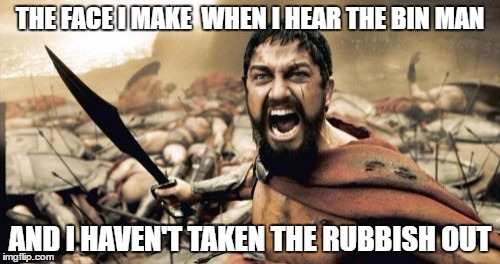 have you taken the garbage out? | THE FACE I MAKE  WHEN I HEAR THE BIN MAN AND I HAVEN'T TAKEN THE RUBBISH OUT | image tagged in memes,sparta leonidas,rubbish,garbage day | made w/ Imgflip meme maker