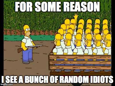 homero clones homer kirchner |  FOR SOME REASON; I SEE A BUNCH OF RANDOM IDIOTS | image tagged in homero clones homer kirchner | made w/ Imgflip meme maker