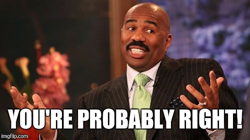 Steve Harvey Meme | YOU'RE PROBABLY RIGHT! | image tagged in memes,steve harvey | made w/ Imgflip meme maker